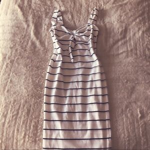 Black and white striped bow dress